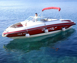 Sports boat Bryant 233 in Adriatic Sea, near Kornati